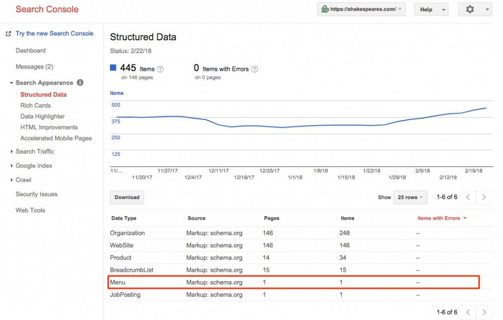 Menu schema identified inside of Google Search Console under Structured Data